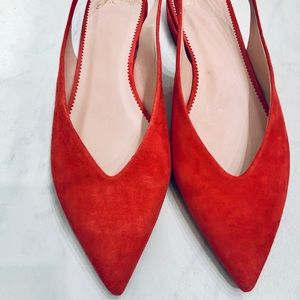 Jcrew slingback, suede, red-orange